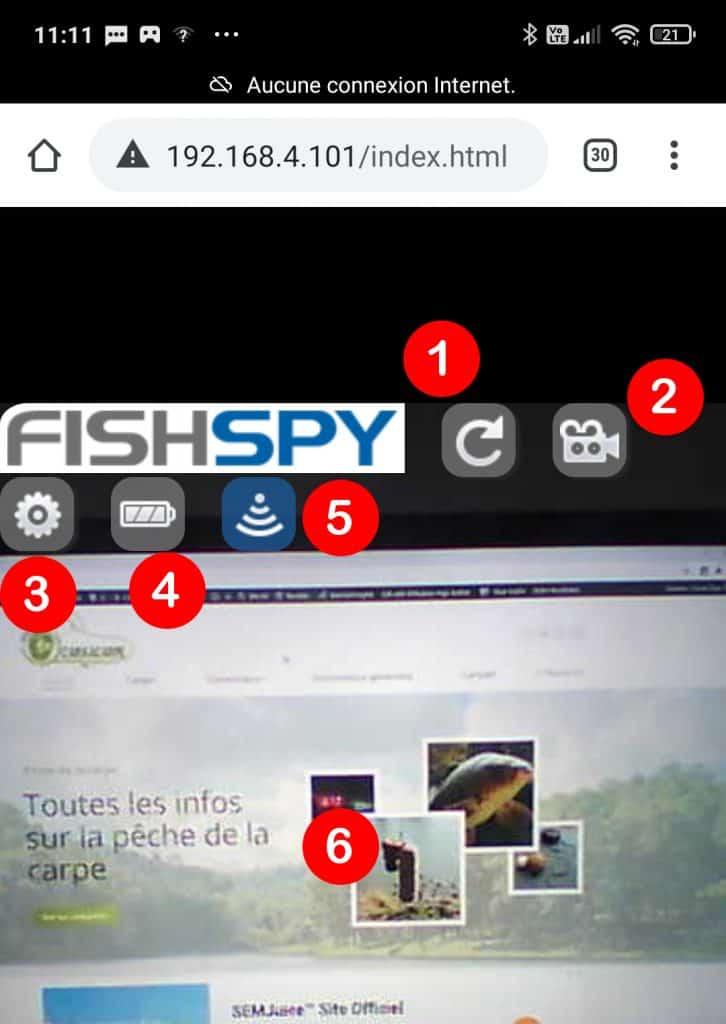 Ecran de controle FishSpy