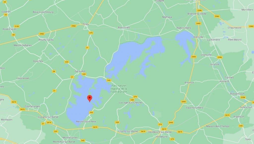 carte lac de la forêt d'Orient